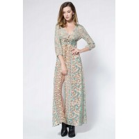 Vintage Style Plunging Neck 3/4 Sleeve Full Floral Print Elastic Waist Front Slit Women's Maxi Dress
