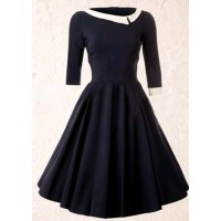 Vintage Style Scoop Neck 3/4 Sleeve HIt Color A-Line Dress For Women