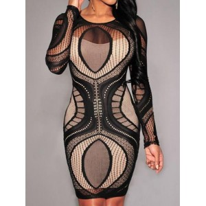 Vintage White Tank Top + Long Sleeve Scoop Neck Hollow Out Dress Twinset For Women black