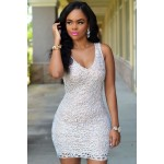 White Embroidered Lace Nude Mini Dress
