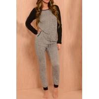 Women's Scoop Neck Long Sleeve Jumpsuit gray