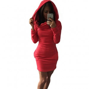 Women's Vintage / Bodycon Solid Dress , Hooded Above Knee Rayon / Polyester