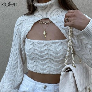 Autumn Long Sleeve Turtleneck Camisole and Pullover Two Piece Sweater For Women Solid Slim Stretch