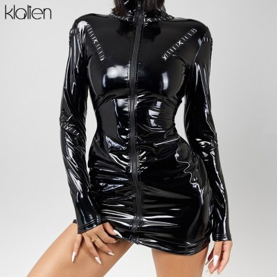 Casual Long Sleeve Turtleneck PU Leather Zipper Bodycon Dresses Women Autumn New Skinny Active Clubwear