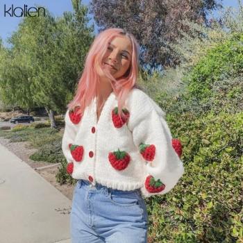 Fashion Elegant Cute Print Strawberry Single Breasted Sweater Women Autumn Thicken Warm Cardigan Sweater