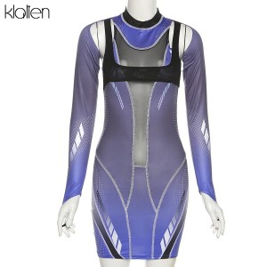 Fashion Turtleneck Long Sleeve Patchwork Mini Bodycon Dresses For Women Autumn New Streetwear Stretch Casual Dresses