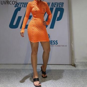 Women Cut Out Mini Dress Long Sleeve Side Zipp Adjustable Solid Bodycon Skirt Hole SeeThrough
