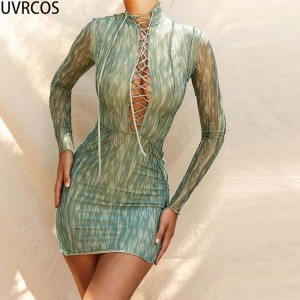 Women 2021New Arrival Mini Dress Hot Streetwear Trendy Clothes Sexy Cleavage Bandage Cut Out Mesh Print Dress