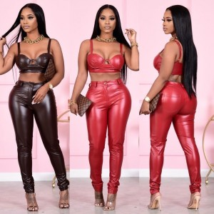Pu Leather pants streetwear women new arrival hipster sexy mujer button skinny Stretch hot Classic trousers Red Black