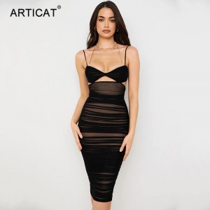 Black Double Layer Midi Dresses For Women Summer Sexy Sleeveless Hollow Out Slim Dress Partywear Backless