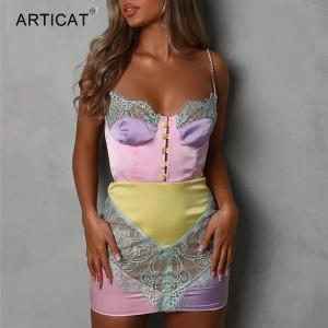 Diamond Strap Elegant Lace Patchwork Party Dresses Women Sexy Buttons Backless Mini Bodycon Dress Clubwear