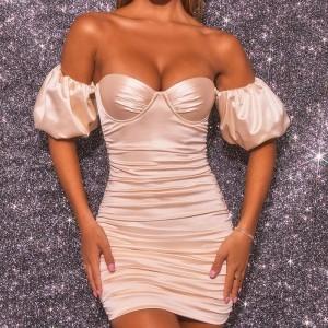 Off-Shoulder Party Night Dress 2021 New Women's Backless Mini Dress Bodycon Slim Short Sleeve