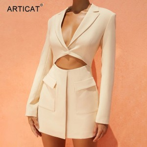Autumn Fashion Long Sleeve Blazer Dress Women Sexy Notched Collar Hollow Out Buttons Jacket Office L