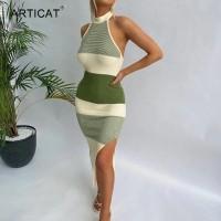Green Knitted Backless Sheath Dresses For Women Halter Sleeveless Split Midi Dress 2021 Fashion Patchwork