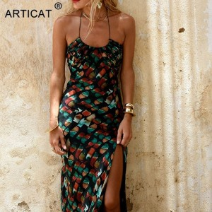 Long Sexy Chiffon Print Dress For Women Spaghetti Strap Beachwear Casual Women Maxi Skinny