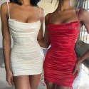 Summer Lace Ruched Mini Dresses For Women 2021 Sexy Drawstring Backless Slim Dress Clubwear Ladies Sleeveless