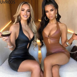 Faux PU Leather Bodycon Dress Sexy Cleavage Party Prom Sheath Body-Shaping Halter Backless Low V-Neck Club
