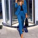 Jacket Blazer Suit Fashion Casual Ladies Solid Color Two Piece 2021 Autumn Winter Office Wear Elegant Suit Jacket Pants
