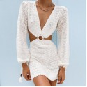 Summer Knitted Long Sleeve Beach Dress Women Sexy Backless Hollow Out V Neck Party Mini Casual Dresses