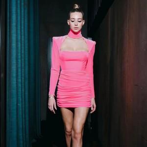 Spring Pink Turtleneck Hollow Out Slim Dress Women Velvet Long Sleeve Shoulder Pad Dress Elegant Ruched