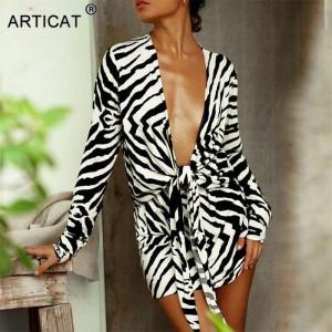 Zebra Print Bandage Shirt Dress Women V-Neck Outwear Female Long Sleeve Autumn Beachwear Women Printed