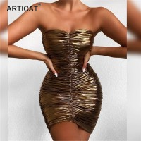 Strapless Bronzing Gold Mini Dress For Women Summer Sexy Backless Ruched Vestidos Sleeve Bodycon