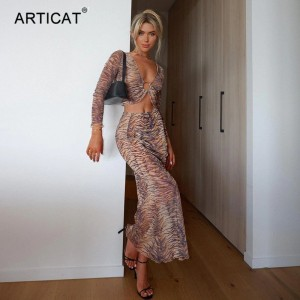 Tiger Printed V-Neck Two Piece Set Women Sexy Long Sleeve Tops Maxi Skirts Matching Sets Summer Slim