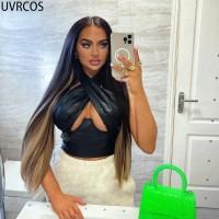 Summer Clothes For Women Sexy Cleavage Bar Night Club Outfit Solid Faux PU Leather Cross Hipster Cyber Y2k Crop Top