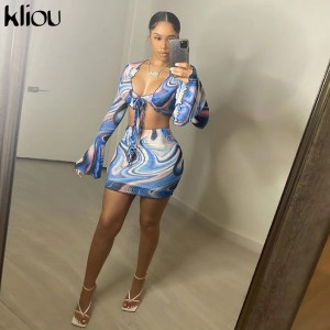 Bow Lace Print Sheath Sexy Women Two Piece Sets 2021 Flare Sleeve V-Neck Hot Female Mesh Ruched Clubwear Outfits