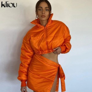 Two Piece Set Women Skirt Hipster Thicken Turtleneck Long Sleeve Street Top+Sexy Side Bandage Female Skirt