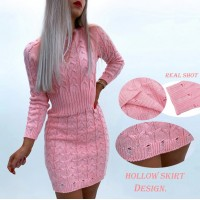 Women Solid Color Knitted Mini Dress O-Neck Long Sleeve Mid Waist Autumn Winter Slim Pullovers Pencil Dress