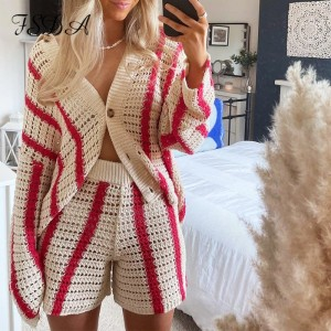Knitted Long Sleeve Cardigan Women Red Stripe Loose Autumn Winter Fashion Casual Sweater Top V Neck Oversized