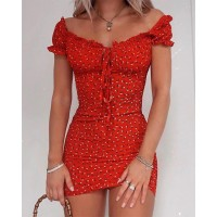 Floral Wrap Dress Off Shoulder Tie Up Front Ruffle Mini Dress Summer Office Lady Slash Neck Printed Pencil Dress