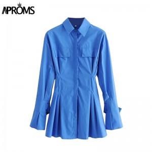Elegant Blue Cotton Shirt Dress Women Spring 2021 High Fashion Solid Color Flared Sleeve Bodycon Mini Dresses