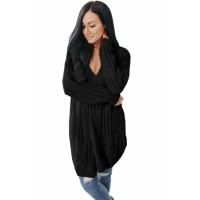 Black Classic Open Knit Chenille Cardigan Gray