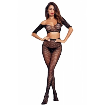 Black Sheer Mesh Zigzag Crop Top Lingerie and Tights