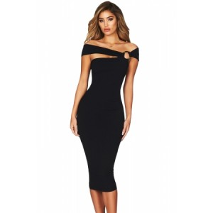 Burgundy Elegant Off Shoulder Bodycon Midi Dress Black