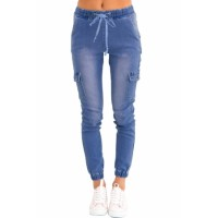 Light Blue Drawstring Ankle Pocket Denim Jeans