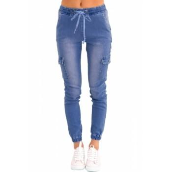 Light Blue Drawstring Ankle Pocket Denim Jeans