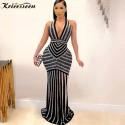 Black Halter Embelleshied Crystal Maxi Dress Women Backless See Through Bodycon Birthday Clubwear Church Dress