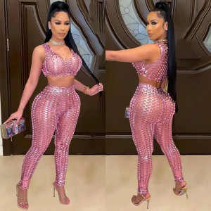 Sexy Fishnet Hollow Out Two Pieces Pant Set Women Sleeveless Crop Top And Long Pant Suits Clubwear 2 Piece Outfits