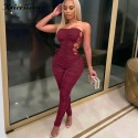 Sexy Strapless Side Lace Up Long Pant Jumpsuit Women Overalls Bandage Skinny Bodycon