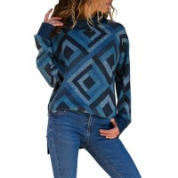 Blue Diamond Striped Cowl Neck Top Red