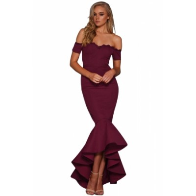 Burgundy Lace Trim Off Shoulder Mermaid Party Dress Black Blue
