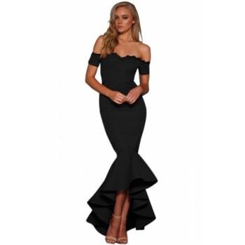 Burgundy Lace Trim Off Shoulder Mermaid Party Dress Black Blue