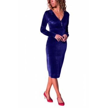 Burgundy V Neck Sleek Velvet Midi Dress Black Blue