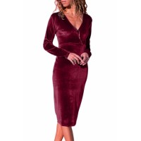 Burgundy V Neck Sleek Velvet Midi Dress Black Blue