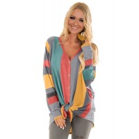 Multicolor Vertical Stripes Button Front Tie Detail Blouse