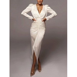Satin Maxi Dress Ruched Hollow out Backless Split Puff Sleeve Robe V Neck 2Layer Lining Women Fall Elegant