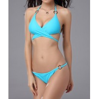Alluring Halter Push-Up Solid Color Lace-Up Bikini Set For Women black blue white